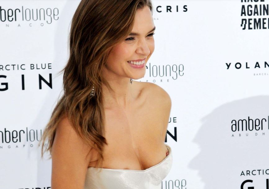 Josephine Skriver double nip slip at the Amber Lounge