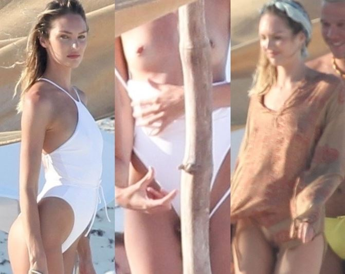 Candice Swanepoel's boobs & pussy exposed – Behind the scenes of a beach photoshoot