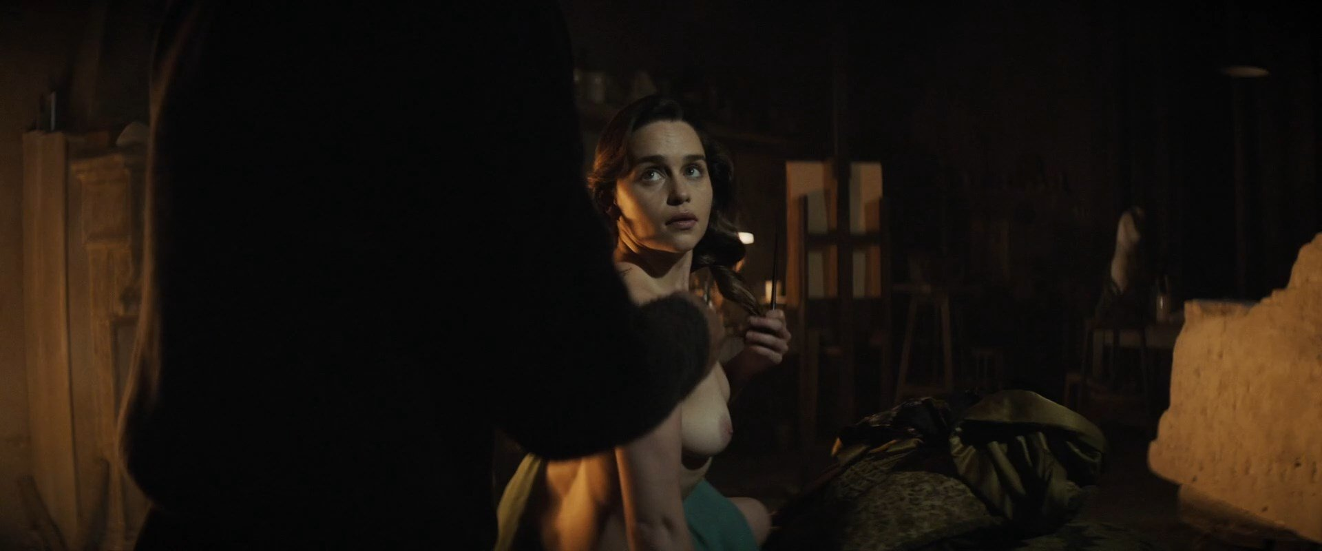 "British actress Emilia Clarke topless and nude in ""Voice from the Stone"""