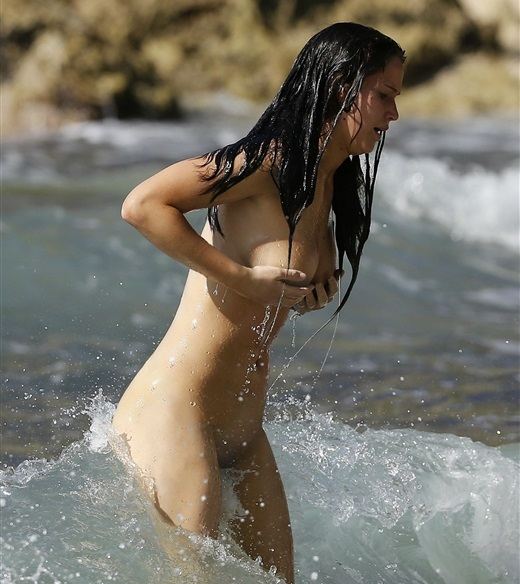 Hollywood actress Jennifer Lawrence swimming nude at the beach