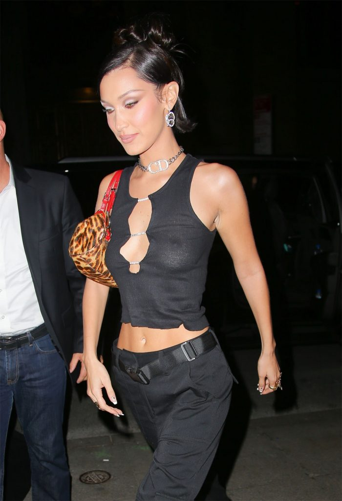 Braless Bella Hadid sexy in black see through sheer top – boobs and nipples exposed