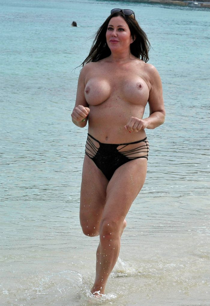 Big Brother UK star Lisa Appleton topless boobs on the beach