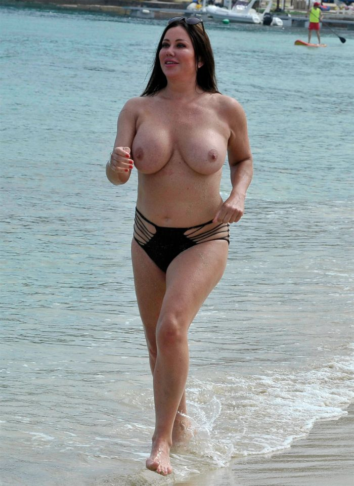 British BBW celebrity Lisa Appleton running topless down the beach